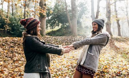 two pretty women having fun in