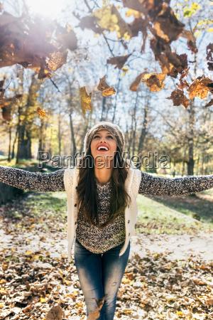 beautiful happy woman having fun with