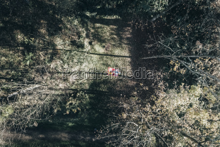 aerial view of two women on