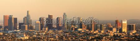 los angeles panoramic skyline sunset