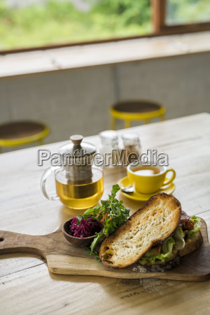 crusty bread with green salad and