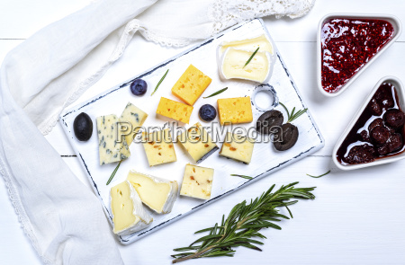 pieces of brie cheese roquefort camembert