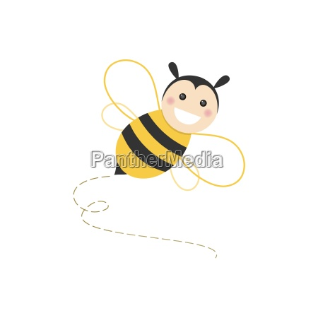 isolated haapy bee flying on a