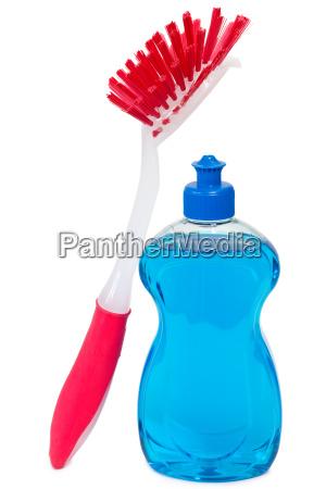 dishwashing detergent with red brush