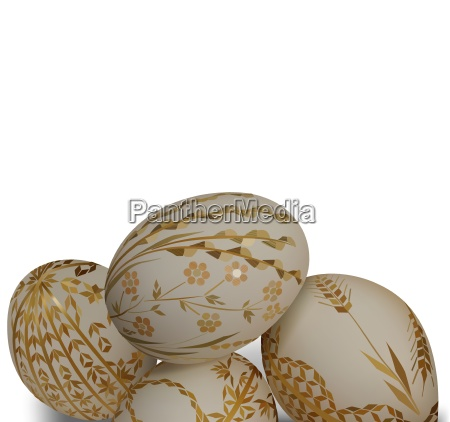 white easter eggs with ornamental pattern