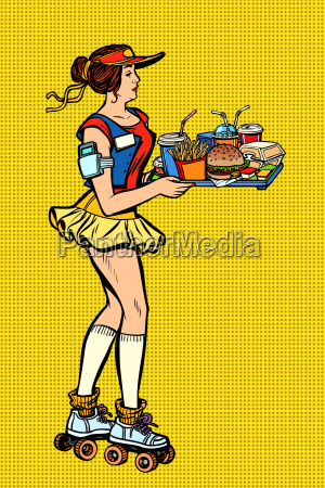 retro fast food waitress on roller