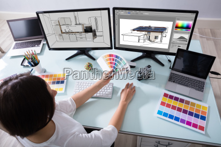 designer working on color selection for