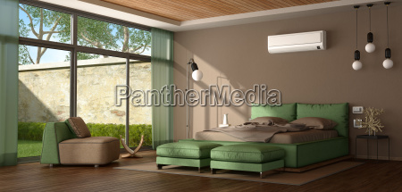 brown and green modern master bedroom
