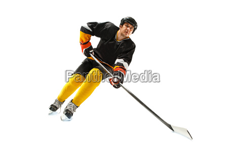 ice hockey player in action isolated