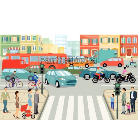 road traffic in the city illustration