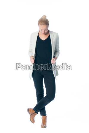 casual relaxed business woman looking down