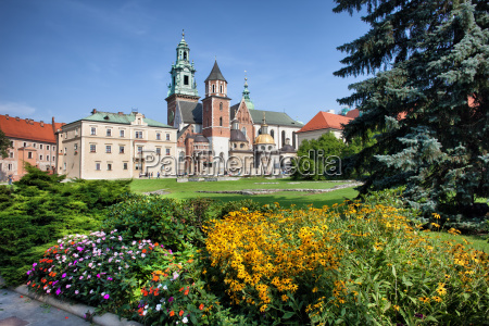 wawel cathedral and royal garden in