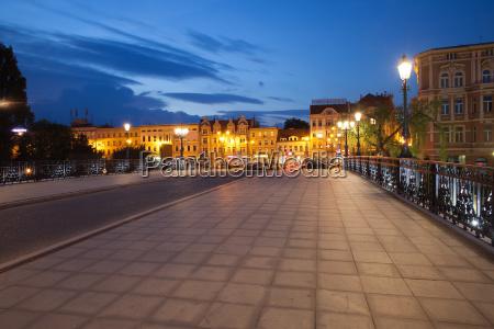 bydgoszcz city skyline by night in