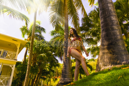 the caribbean tropical beach and woman