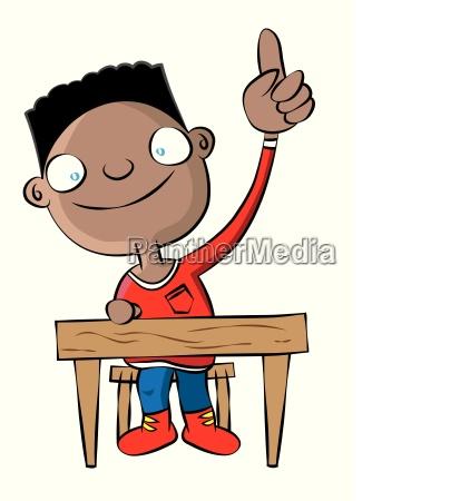 cute black school boy raise hand