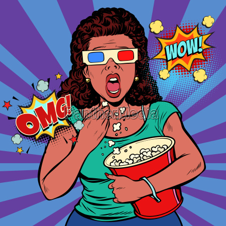woman in 3d glasses watching a