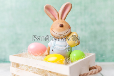easter holiday basket with a bunny