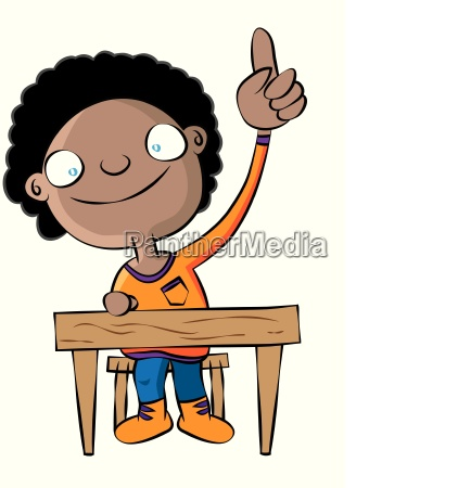 cute black school girl raise hand