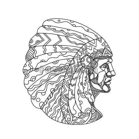 american plains indian with war bonnet