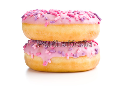 two pink donuts
