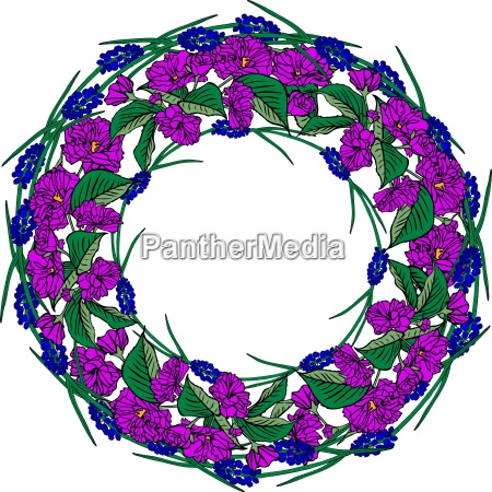wreath of purple sakura flowers and