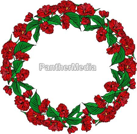 wreath of red sakura flowers and