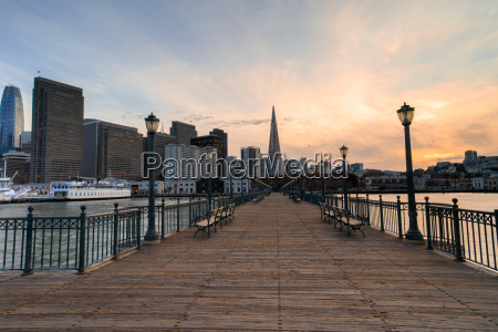 san francisco skyline and boardwalk sunset