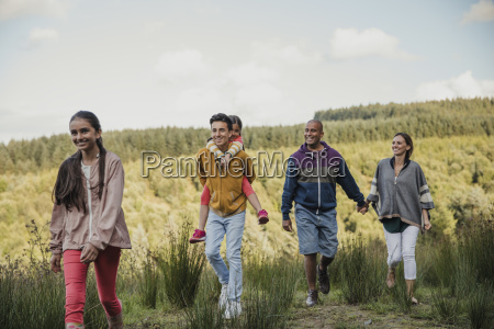family walks in the country side