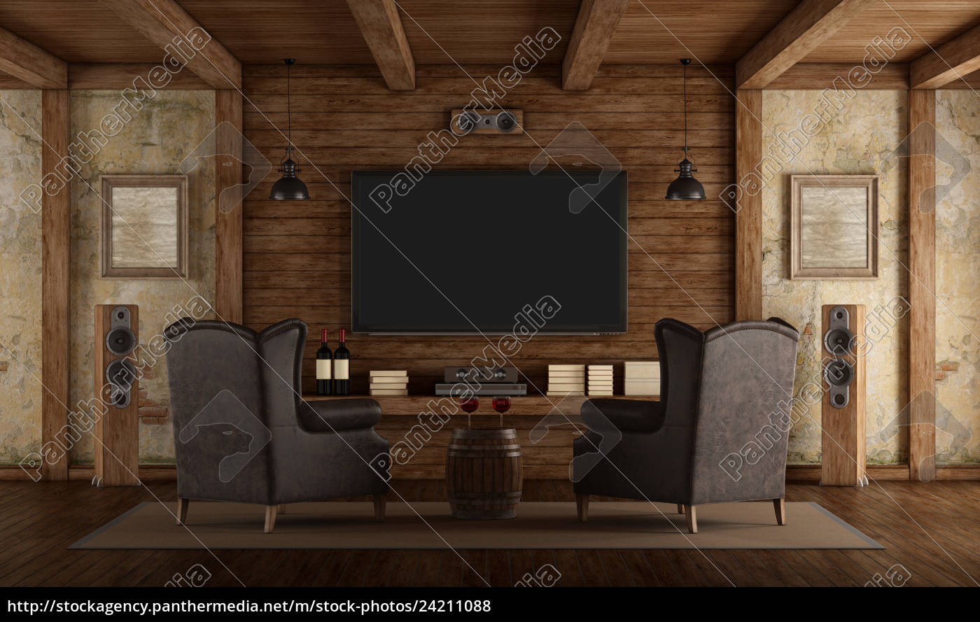 home, cinema, in, rustic, style - 24211088