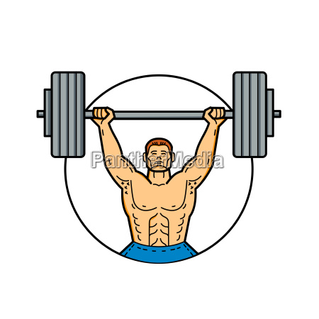 weightlifter lifting barbell mono line art