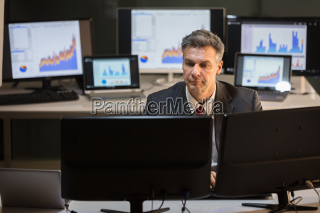 businessman working on multiple computer