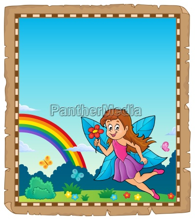parchment with happy fairy theme 1