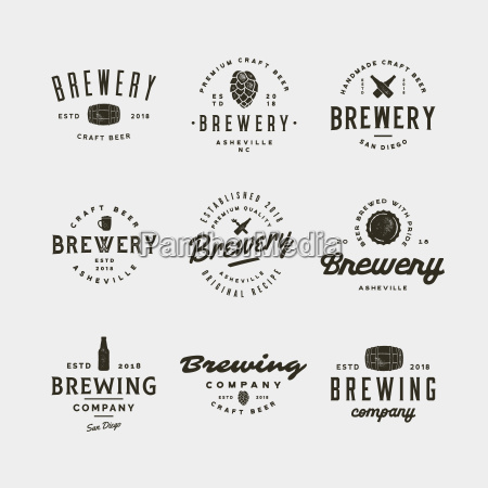 set of vintage brewery logos vector