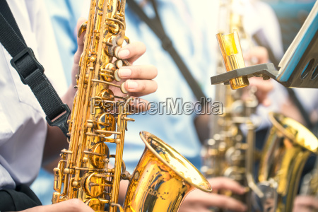 saxophonist play jazz music vintage color