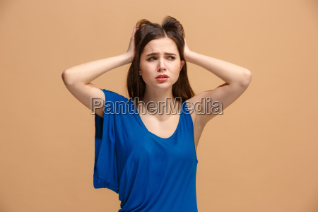 beautiful woman in stress isolated on