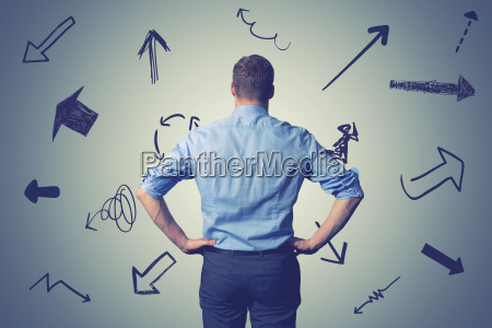 confused businessman with direction arrows choosing