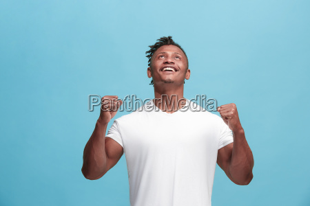 winning success afro american man happy