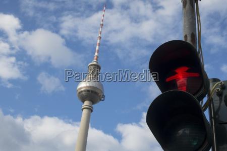 traffic light in berlin with alex