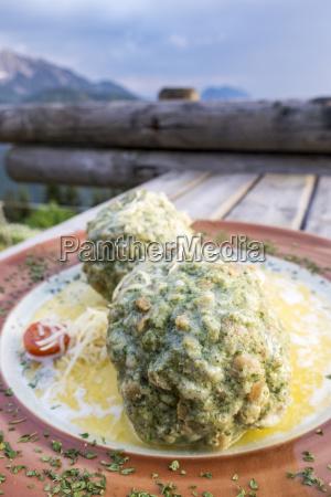 austrian spinach dumplings on a table