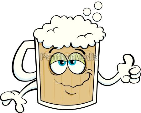 cartoon illustration of a beer mug