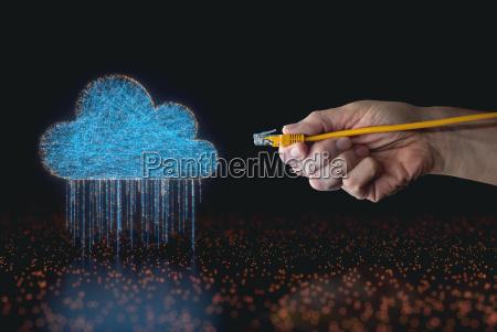cloud computing data rain rj45 cable