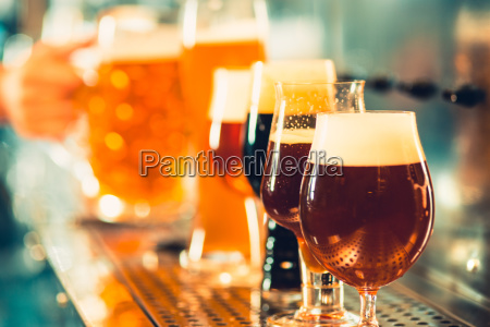 beer craft bar table glassses with