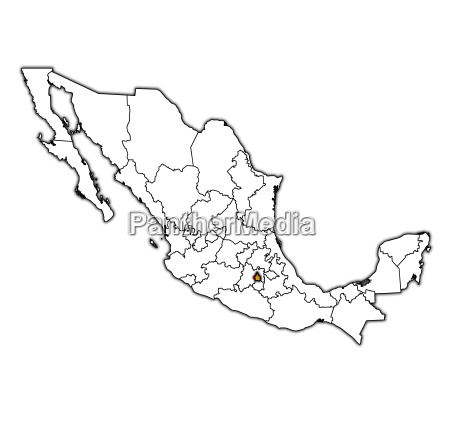 tlaxcala on administration map of mexico