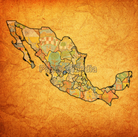 aguascalientes on administration map of mexico