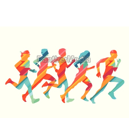 group of colorful runners illustration