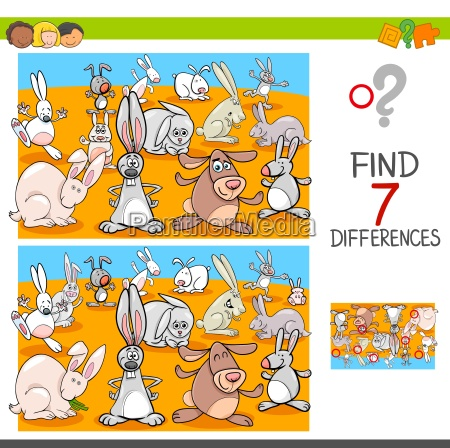 find differences with rabbits animal characters