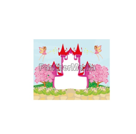 beautiful fairytale pink castle frame
