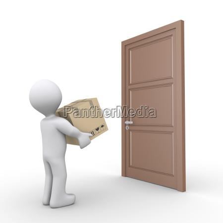 person delivers a parcel