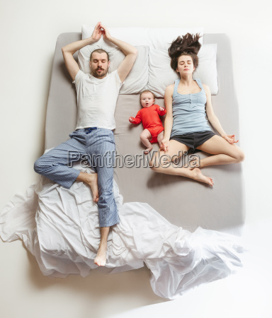 top view of happy family with
