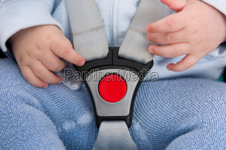 safety belt with red button protecting